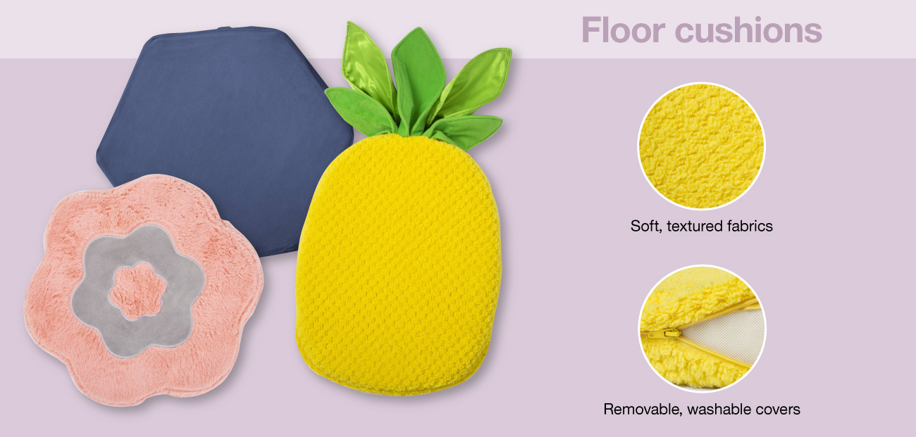 Three fun floor pillows, including a pineapple, with two detail callouts