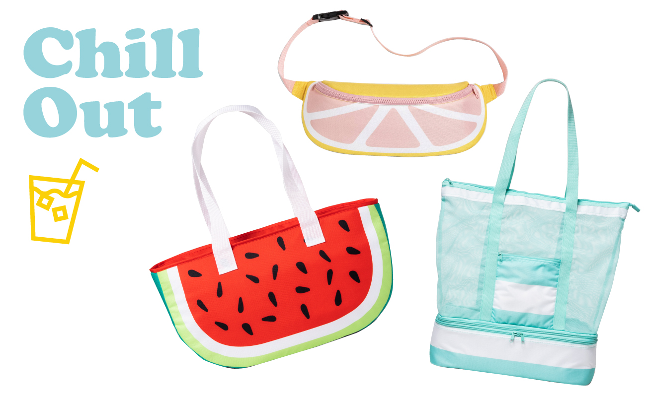 Photo collage with Chill Out text, beverage icon, grapefruit fanny pack, watermelon cooler and mesh tote with zip-off cooler