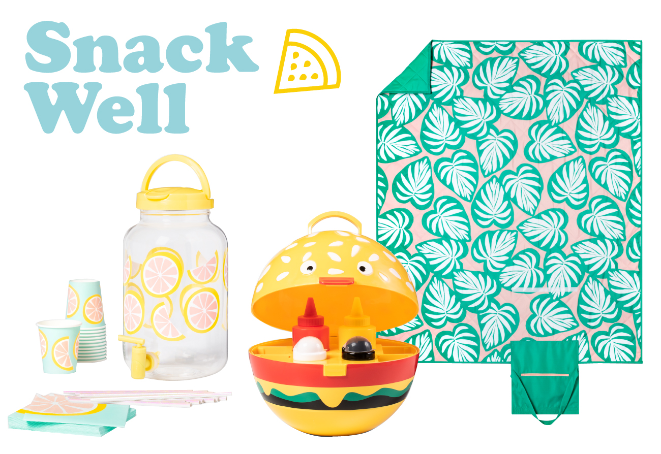 Photo collage with Snack Well text, watermelon icon, beverage dispenser set, hamburger caddy and palm leaf picnic blanket