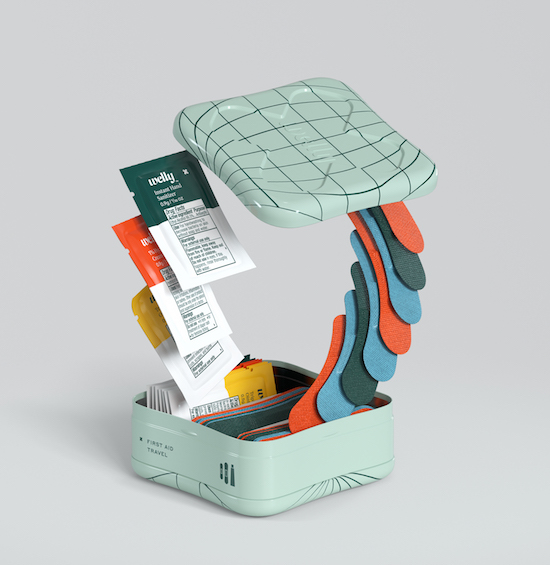 A mint green tin with blue, green and orange Welly bandages and packages spilling out