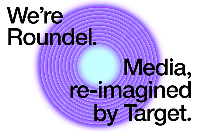 Blue and purple concentric, radiating circle with the words We're Roundel: Media, reimagined by Target