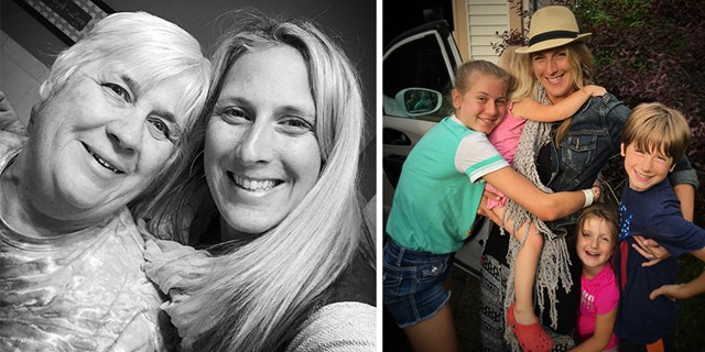 Left, Rachel and her mom Cheryl; Right, Rachel and her four kids