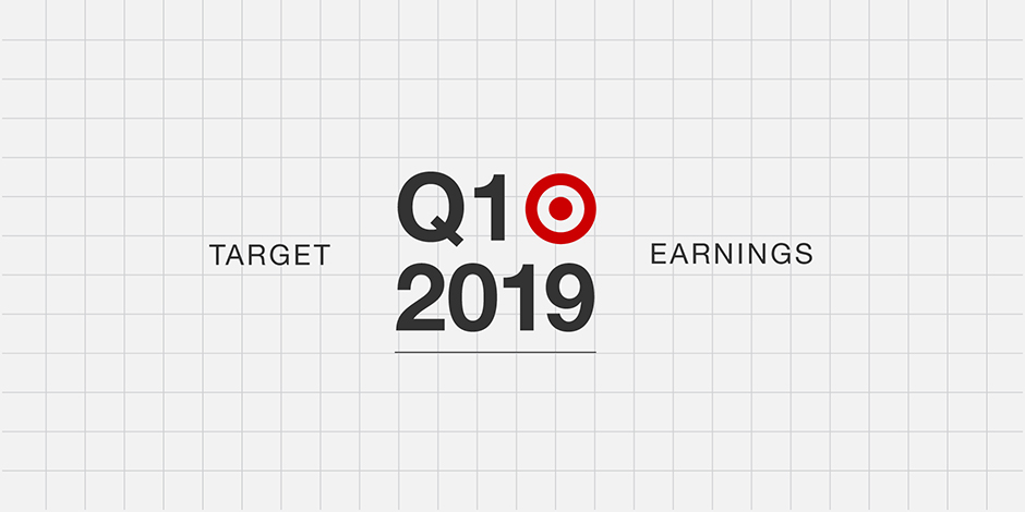 Black text reads Target Q1 2019 Earnings with red bullseye against white background with grid lines