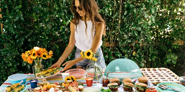 Camille Styles arranges a summer buffet using Sun Squad product