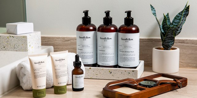 An assortment of Goodfellow grooming products