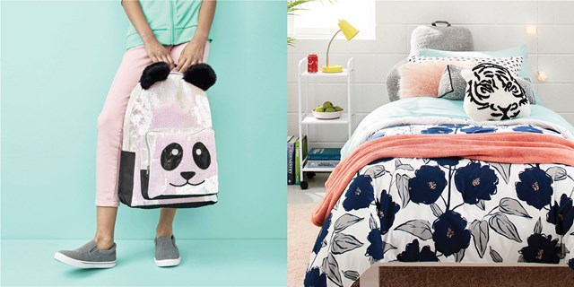 Two images showcasing a panda backpack and decorated dorm room