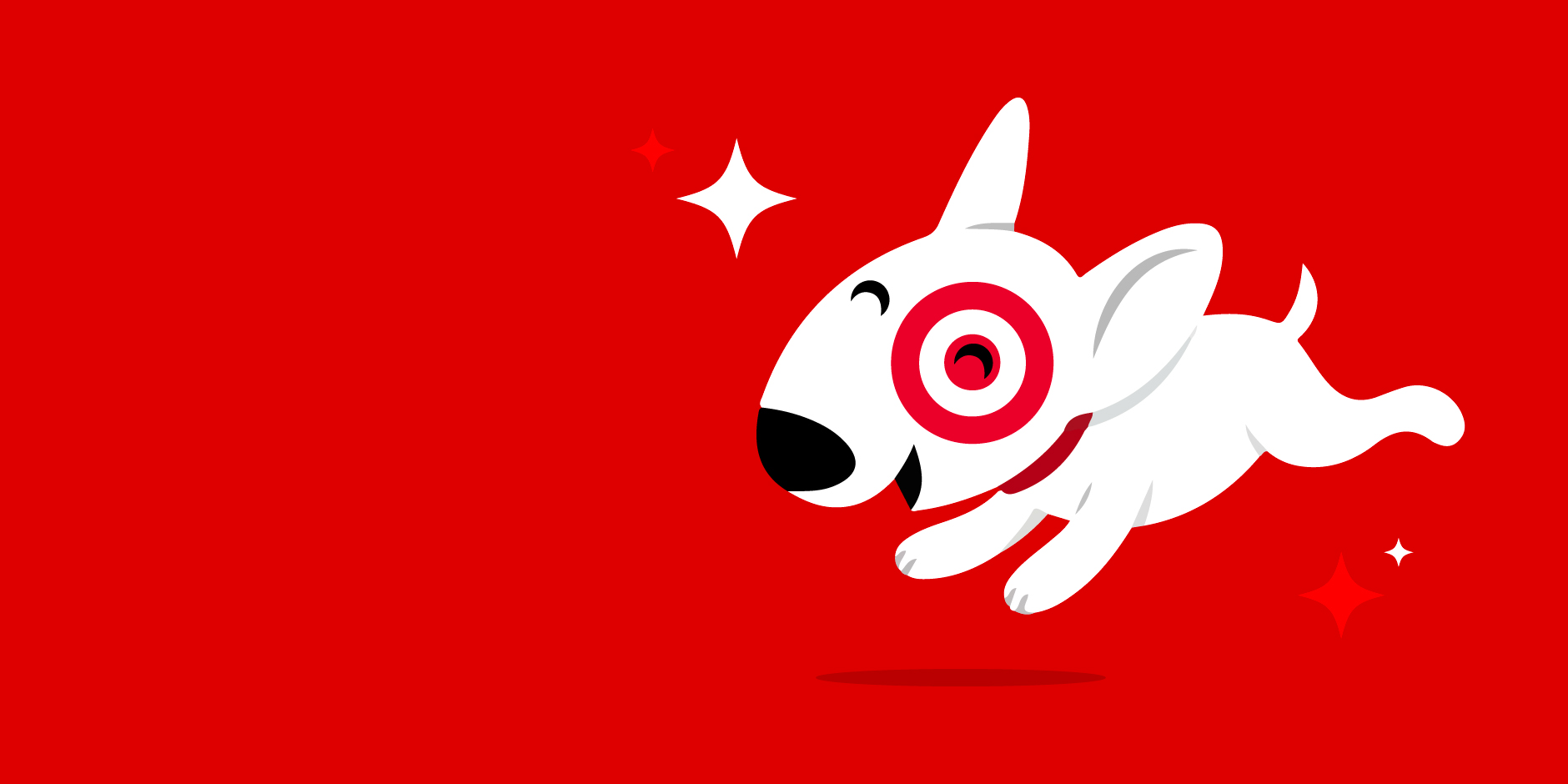 smiling Bullseye dog jumping on a red background