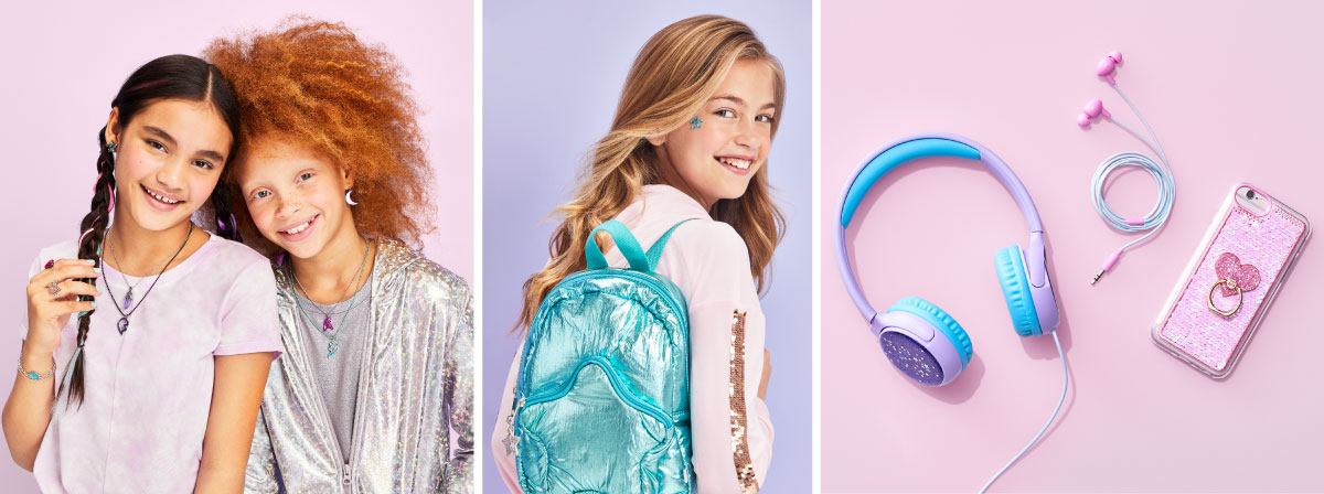 Three images: two girls wearing More than Magic gear, a girl with a shiny blue backpack and pastel-colored headphones and ear buds