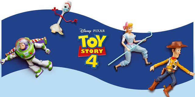 Buzz, Woody, Forky and Bo Peep appear in front of a blue banner and Disney Pixar Toy Story 4 logo