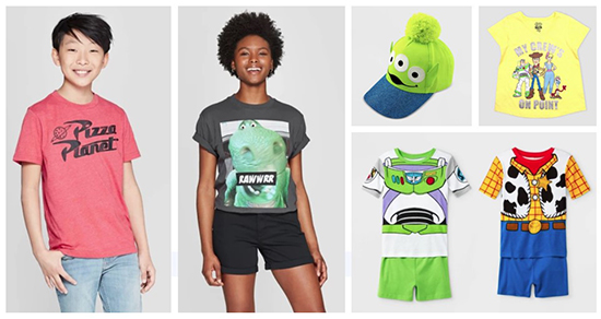 Two models and an assortment of Toy Story apparel, hats and pajamas