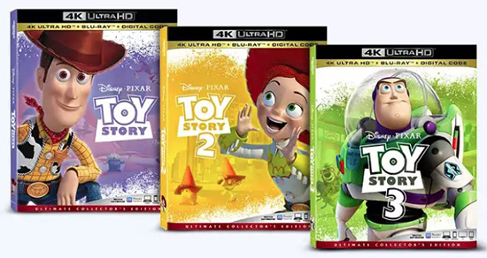 Three DVD covers of Toy Story 1, 2 and 3