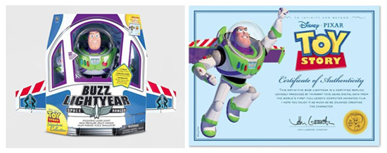 The Buzz Lightyear Signature figure in package, next to its certificate of authentication