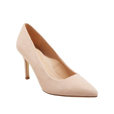 A cream pointed and closed-toe heel