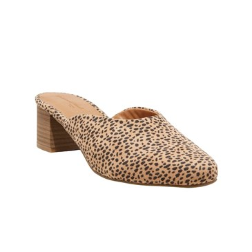 A leopard print backless shoe with short heel
