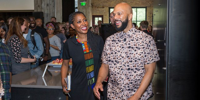 The Target team greets Laysha Ward and Common