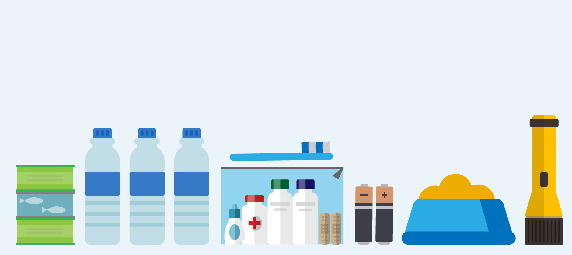 An illustration of canned goods, water bottles, first aid kit, batteries, dog food and flashlight