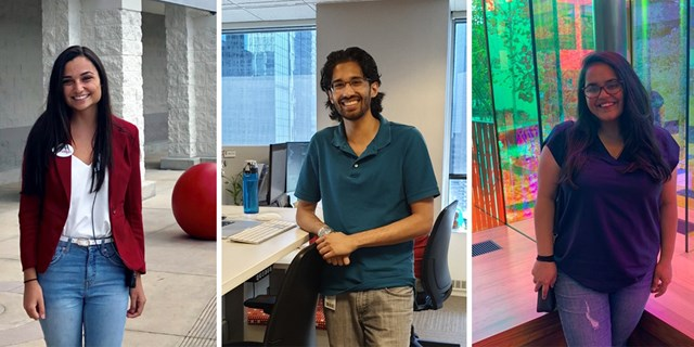 Three photos of Target interns standing in their workspaces