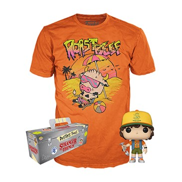 shirt, figure and package