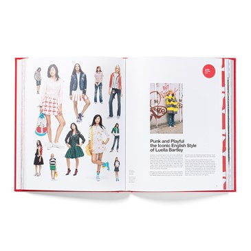 An open book showing models wearing items from the 20th Anniversary Collection