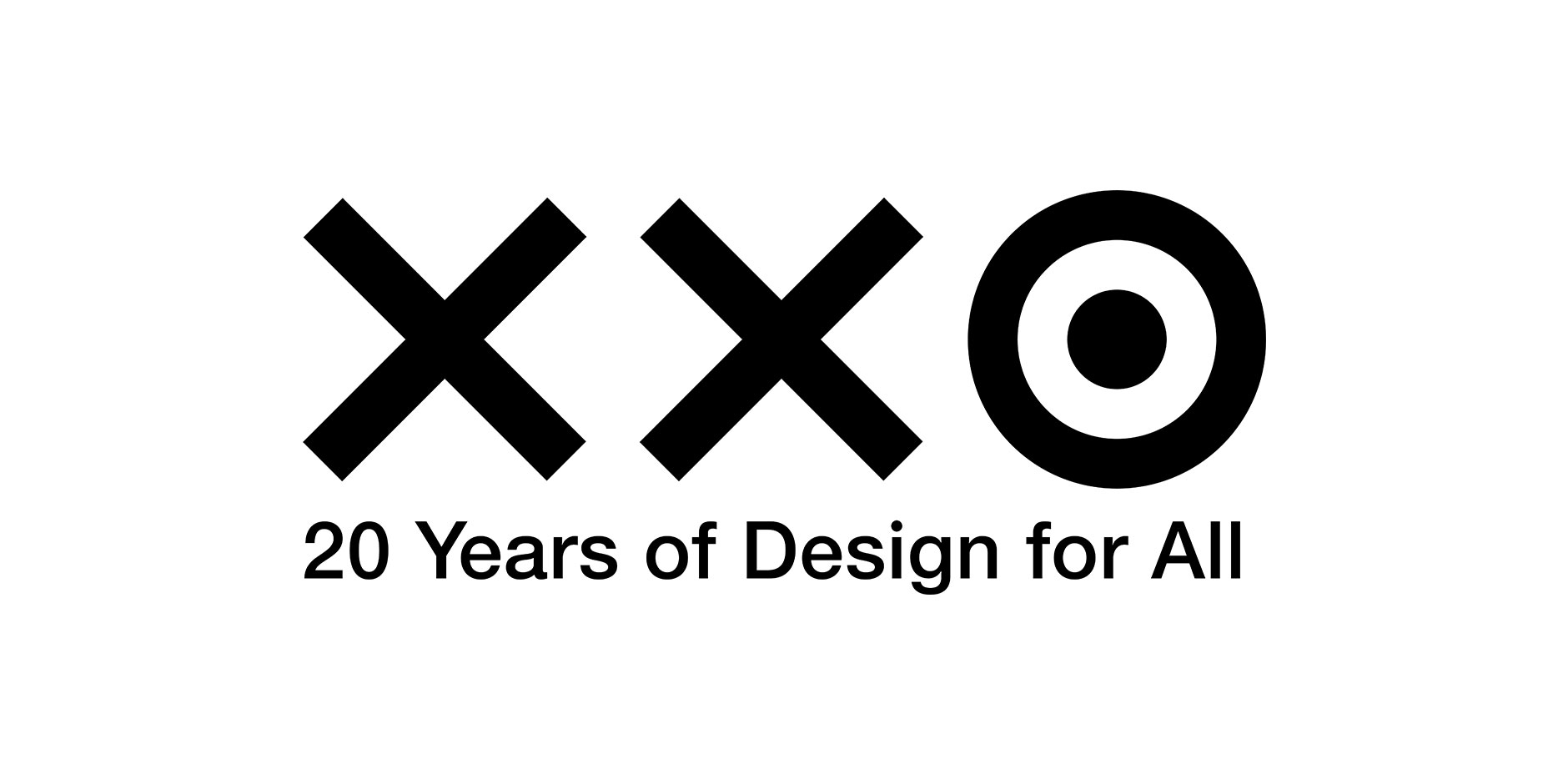 """XXO"" with bullseye as the O, 20 Years of Design for All in black text below XXO"