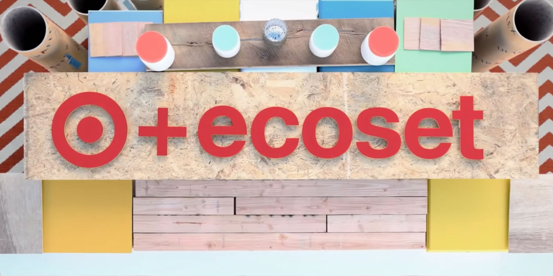 A Target + EcoSet logo surrounded by colorful construction material
