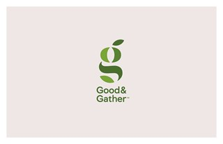 A green Good & Gather logo against a grey background