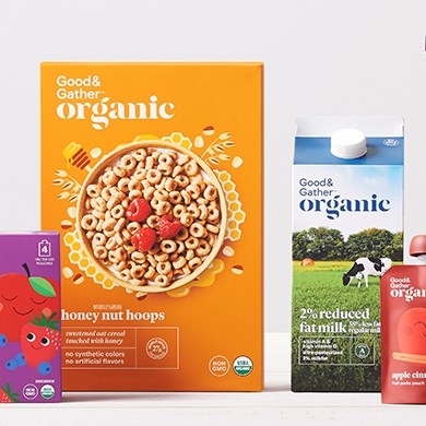 A variety of Good and Gather products from cereal and milk to fruit pouches and more