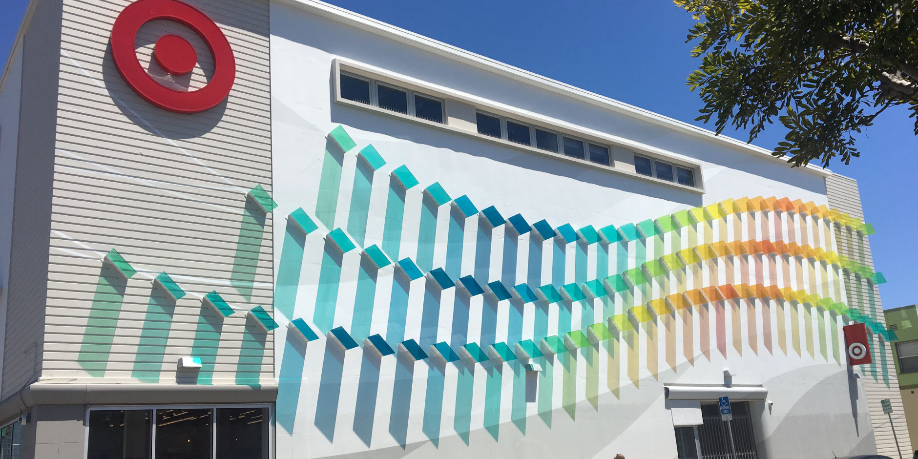 Colorful art on the exterior of a Target store
