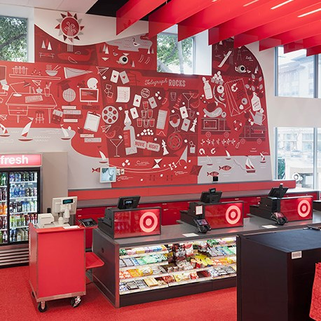 A red and white mural adorns the wall of our Berkeley store