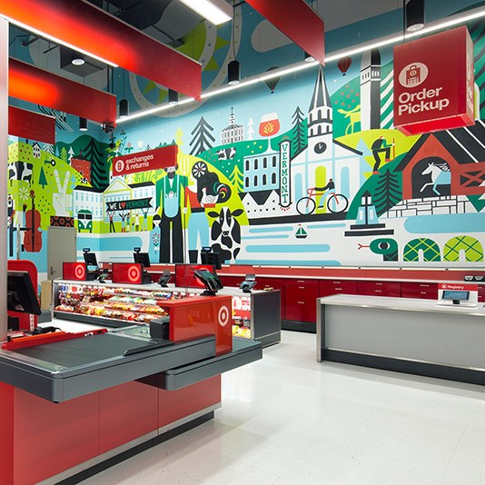 A colorful city-scape mural in our Burlington store