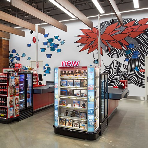 Floral and fish-inspired murals on the all of a Honolulu store