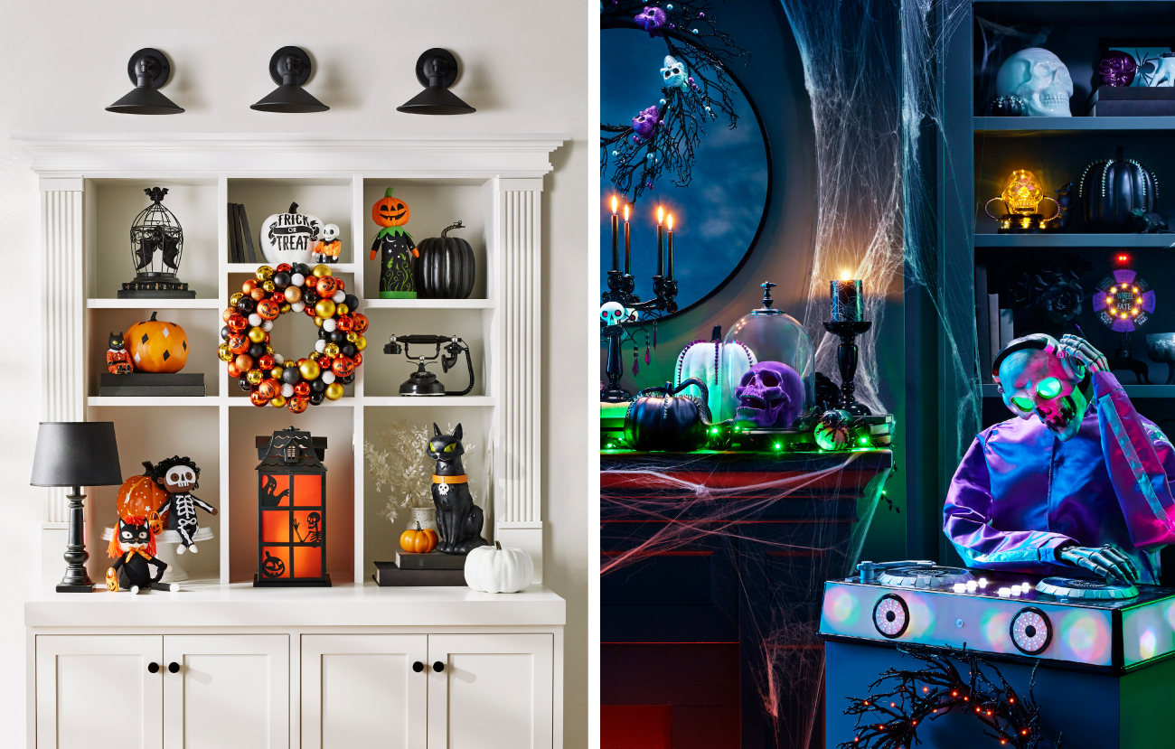 A split-screen showing pumpkin and spooky home decor