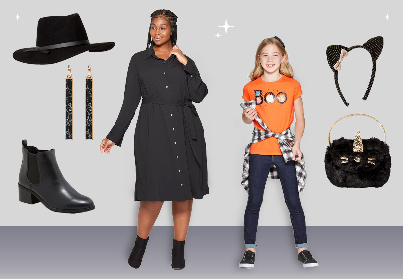 A woman and girl model Halloween outfits, while accessories are shown around them