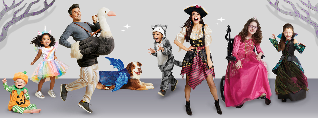 Babies, kids, adults and even a dog are dressed up in Target Halloween costumes