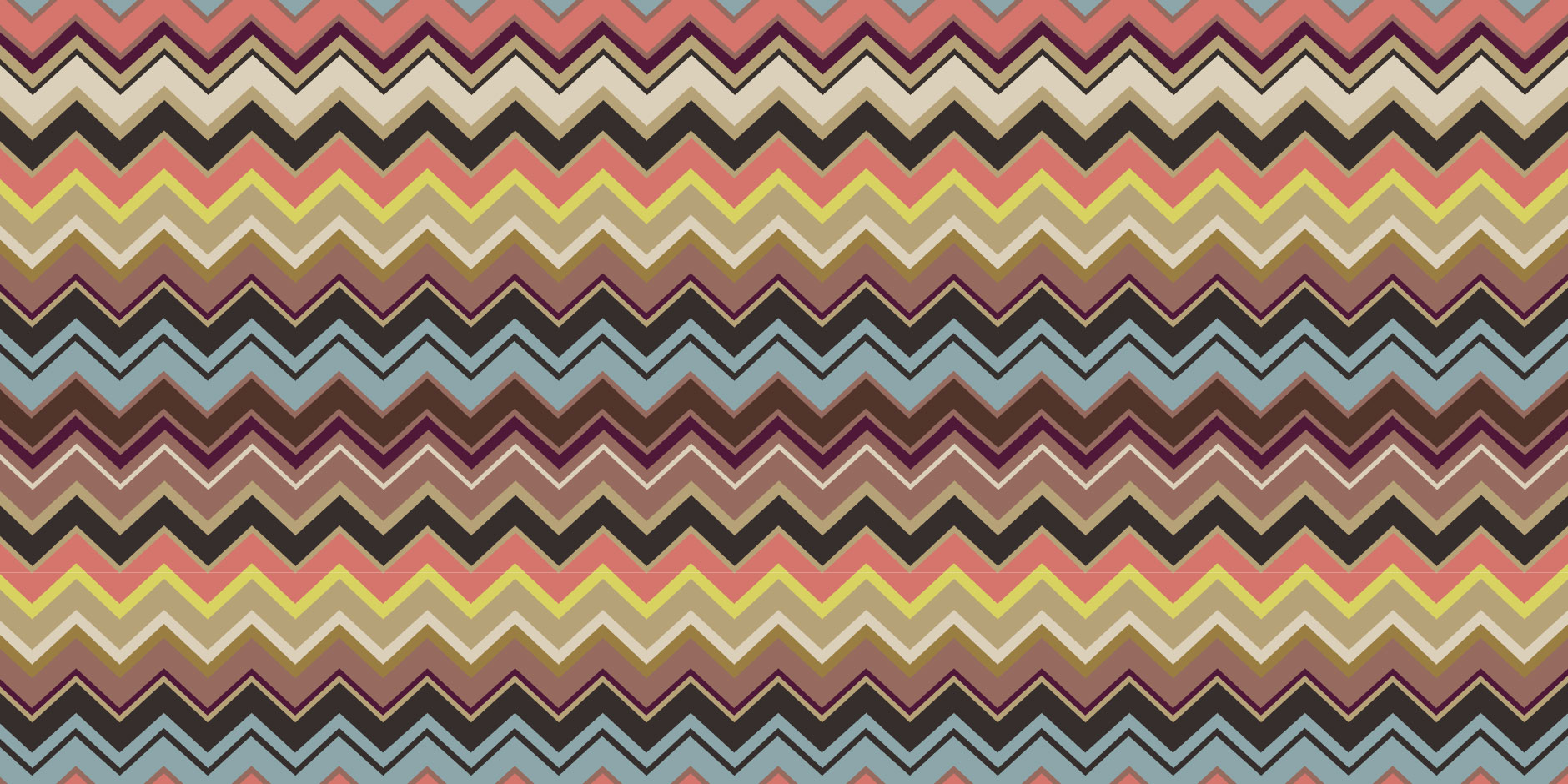 An iconic Missoni zigzag pattern in shades of gray, brown, tan and gold