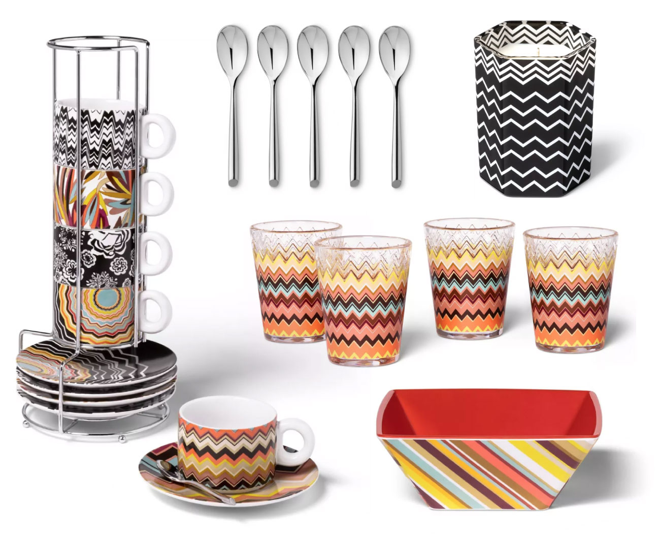Sets of cups, spoons and tableware in Missoni zigzag patterns