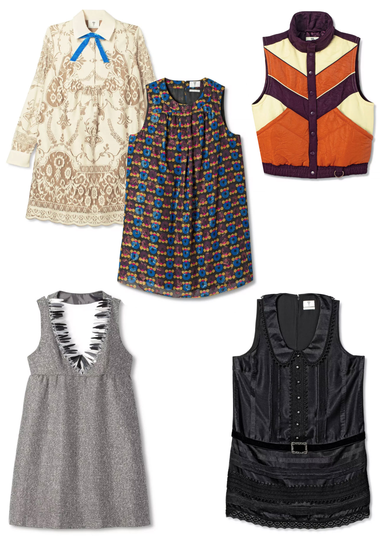 Five pieces of apparel from Anna Sui including tops, dresses and vests