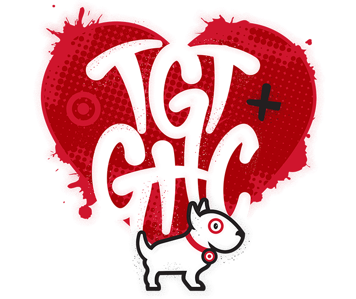 An illustration of Bullseye the dog standing in front of a read heart with white text that reads TGT + GHC
