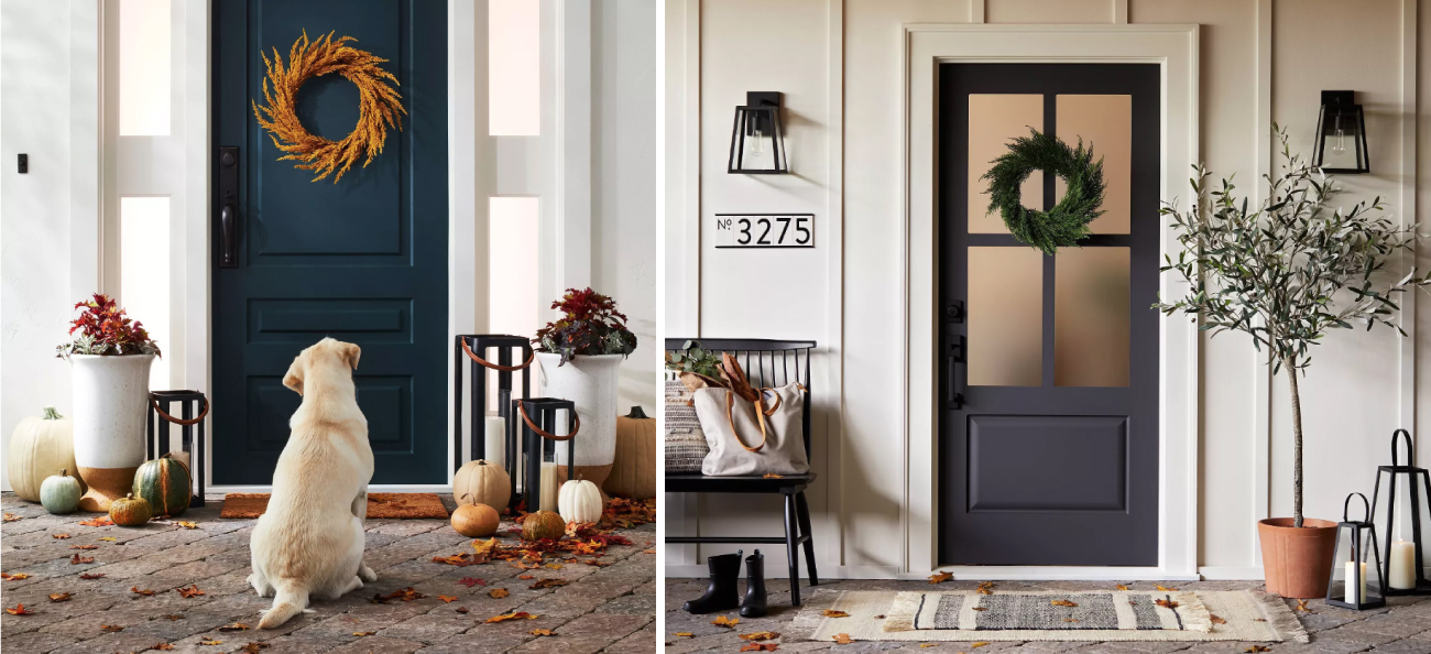 Two front doors decorated in a fall theme