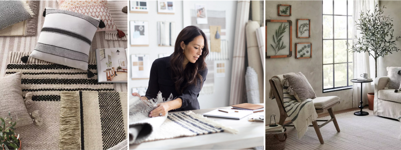 A set of neutral-hued pillows and rugs, Joanna Gaines examining a rug sample and a neutral living room scene