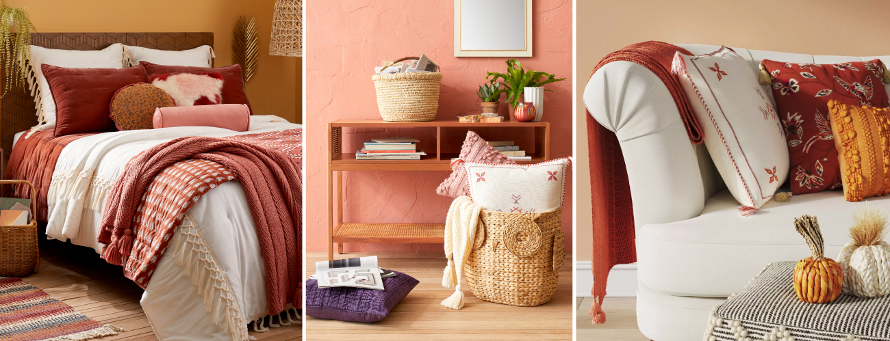 Muted blush hues across bedding, decor and throws and pillows