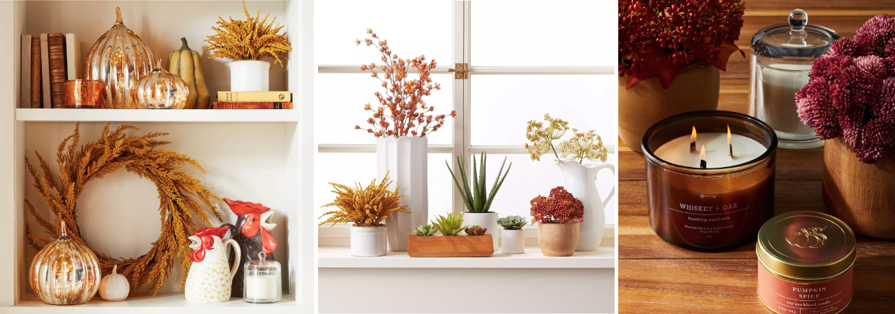 Three images showing a variety of fall decor, from pumpkins and wreaths to faux plants and candles