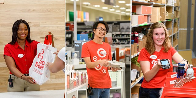 Three team members in red, khaki and denim work on the sales floor and in the backroom