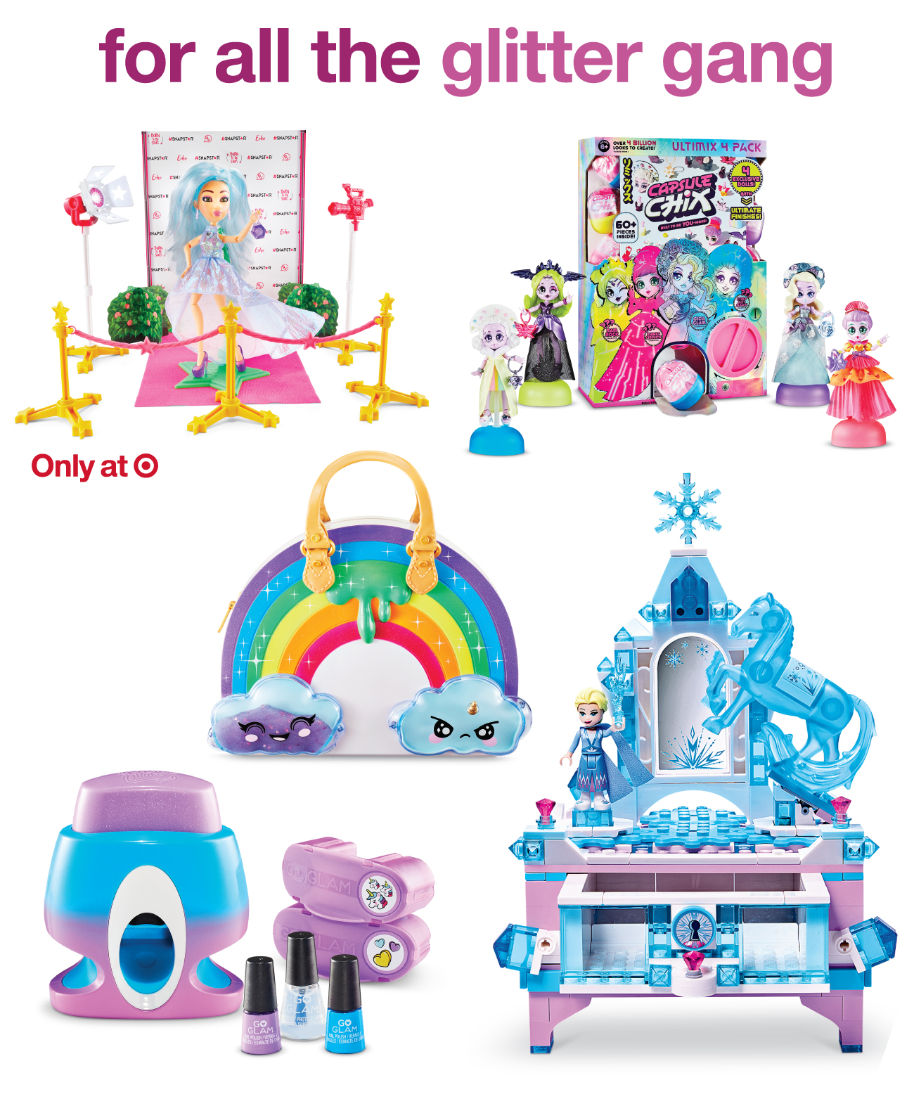A collage of sparkly toys