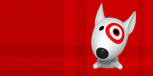 An illustration of a white dog with red bullseye logo peeks out from against a red background