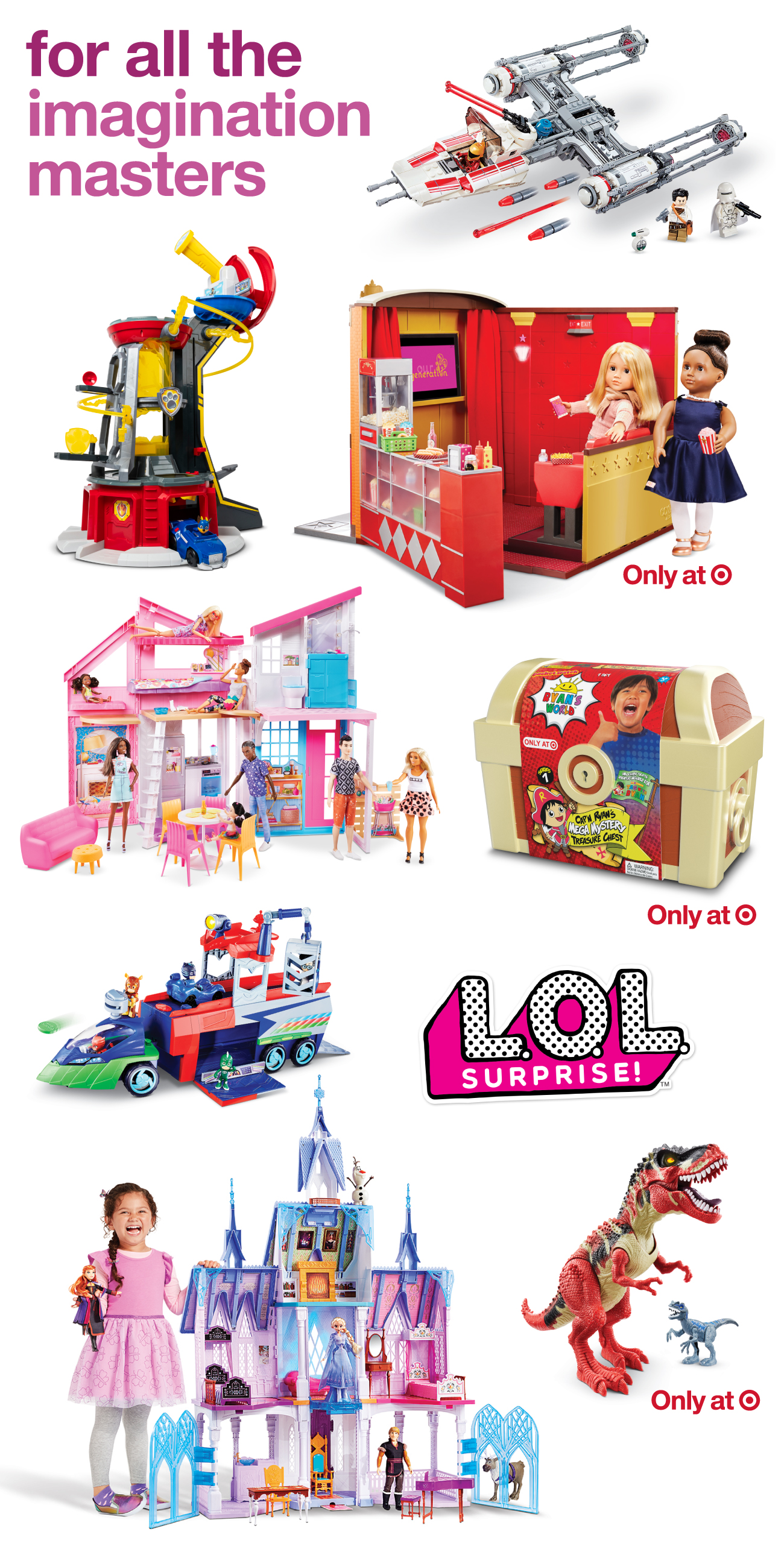 A collage of imagination toys