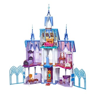 A large blue and purple castle