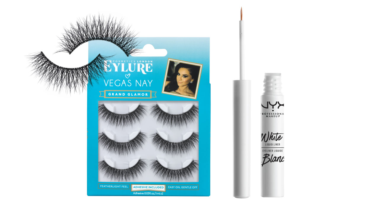 A package of false eyelashes and white liner