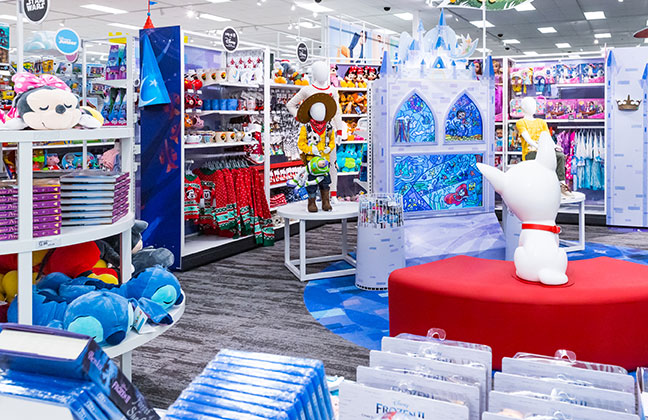 wide view of Disney store at Target merchandise and viewing area