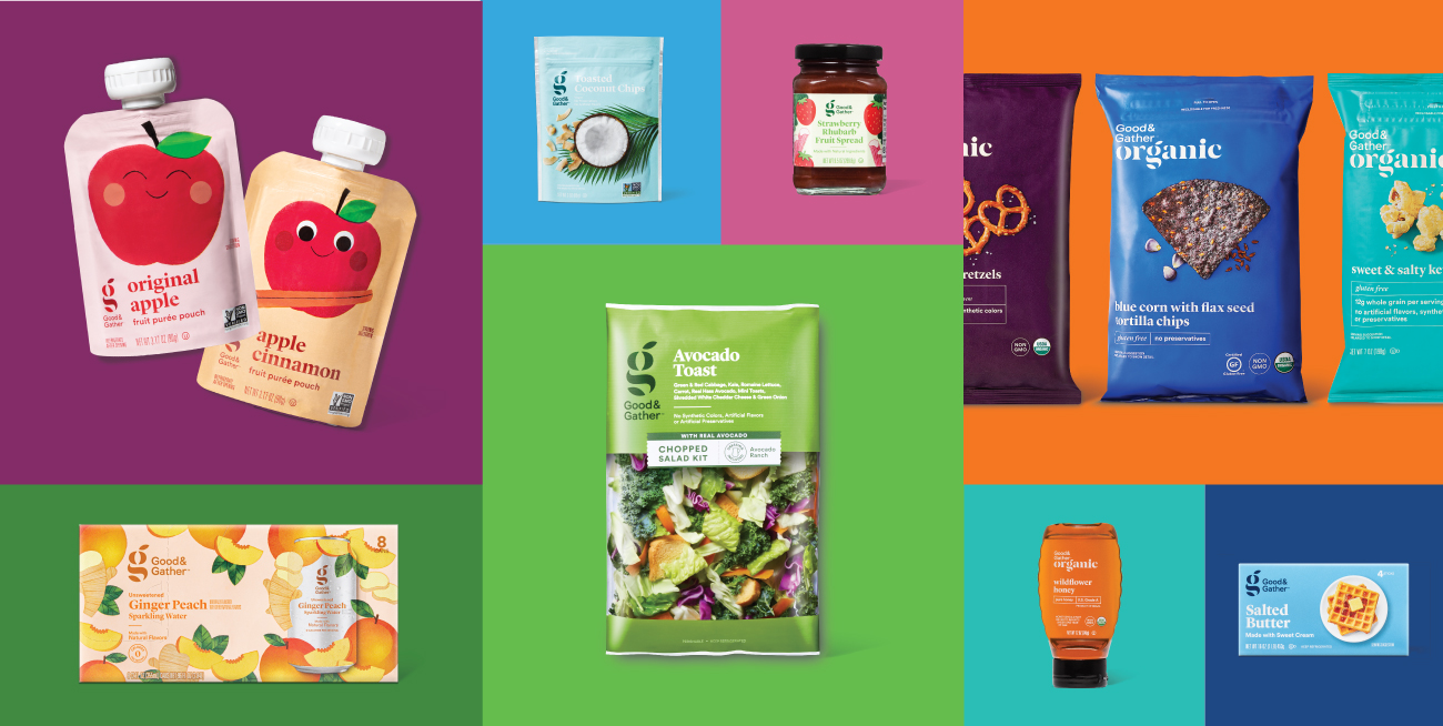 A variety of Good and Gather products shown in a colorful collage grid